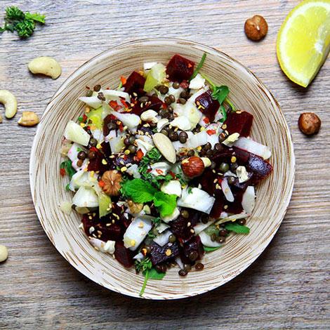 Salade d'hiver - Endives Betteraves et Lentilles