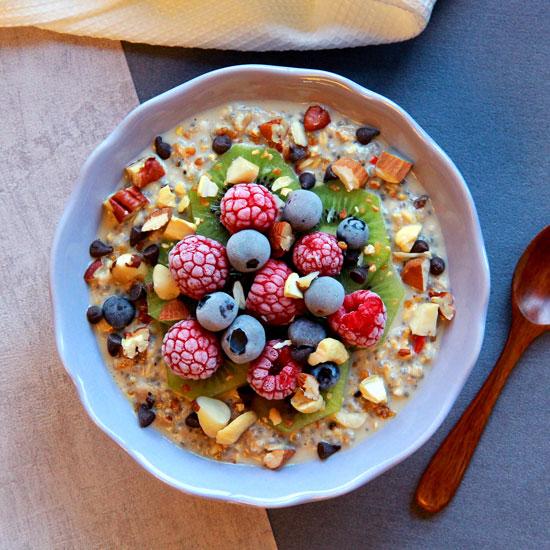 Overnight porridge amandes et fruits