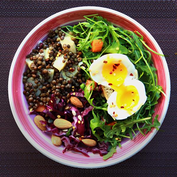 Salade de lentilles a la moutarde et chou rouge