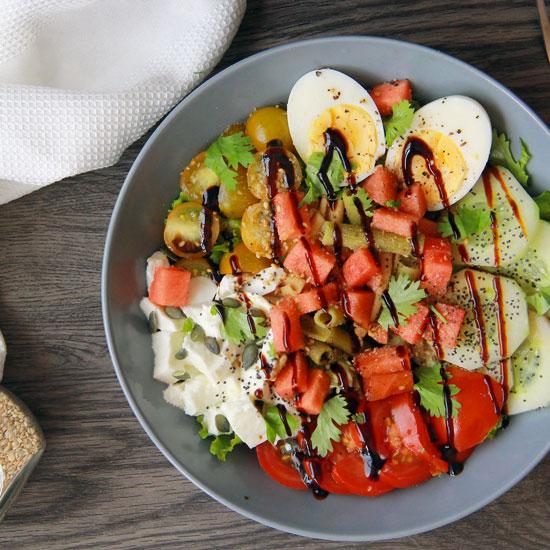 Salade composée aux pates de pois cassés