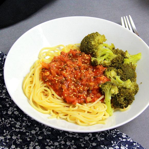 Spaghetti bolognaise vegan aux lentilles