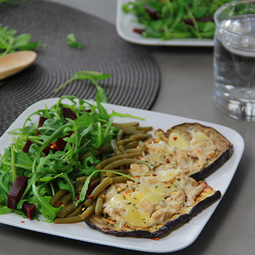 Toast d'aubergine au Foulet et Haricots verts - IG bas