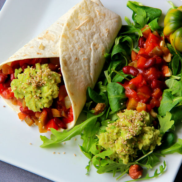 Wraps vegetariens a la mexicaine