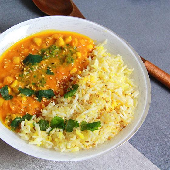Curry de pois chiche et riz basmati
