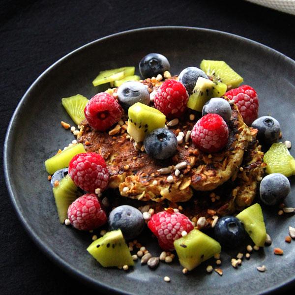 Pancakes banane, flocons d'avoine et de seigle (IG BAS)