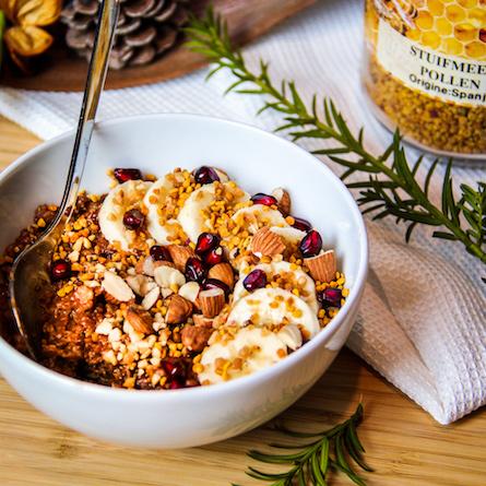 Porridge chocolat banane et pollen
