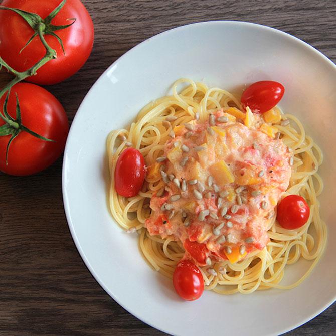 Spaghettis sans gluten sauce poivron (vegan)