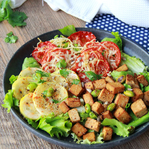 Tian tomates et courgette, tofu et edamame