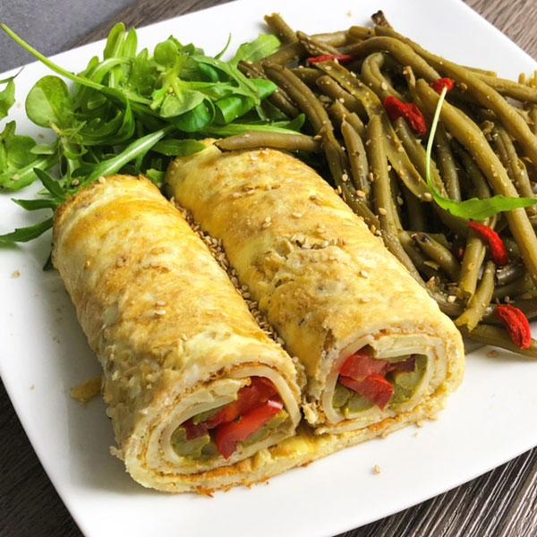 Wrap omelette aux tomates et asperges IG BAS